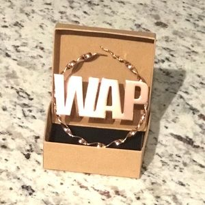 """Jewelry - Oversize Rose Gold Plated  """"W.A.P."""" Hoop Earrings"""
